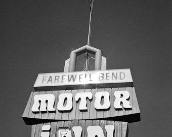 Motor Inn travel Photography billboard art neon sign road trip cross country Oregon sun burst - Farewell - fine art photograph black white