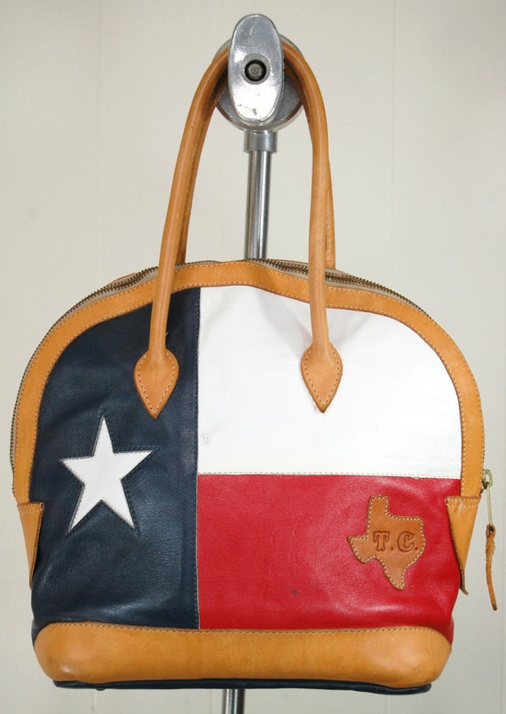 Vintage Leather Texas Flag Handbag