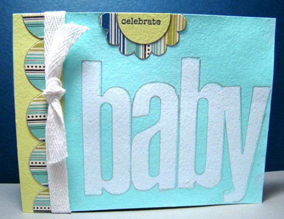 New Baby Boy Congratulations Card Hand Stenciled and Misted Lined Inside