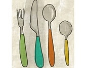 Art Print - Kitchen Art - Jelly Handle Cutlery - Illustration