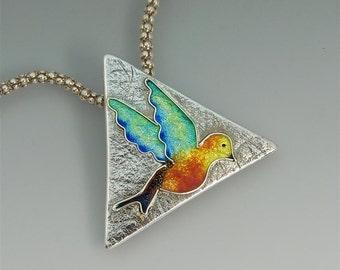REDUCED! Handmade Silver & Rainbow Enamel Bird Pendant. Bird on the Wing - Unique