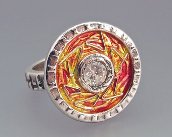 REDUCED!  Silver and Enamel Ring, Shimmering Hot, Red Orange Yellow Flame Design with Cubic Zirconia OOAK