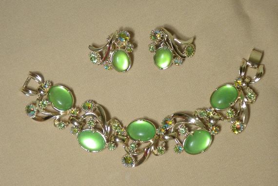 Vintage Selro Bracelet and Earrings Set Signed Lime Green Demi Parure