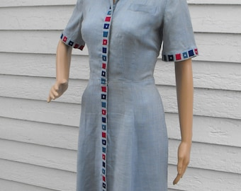 1940s Dress Blue Casual Linen L'Aiglon Vintage 40s M