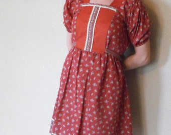 Folk Dress 70s Floral Prairie Print Country Boho Oktoberfest S Vintage