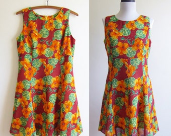 Vintage 1960s Dress / MARIGOLD SUMMER Floral Sleeveless Mini Dress / Size Small or Medium
