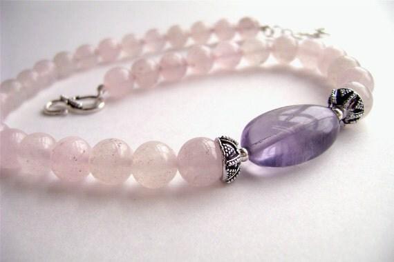 RESERVED for DOLORESRose Quartz Necklace, Sterling Silver, Fluorite, Gemstone Jewelry, Pink, Rose, Purple, Lavender, Violet, Rose, 276