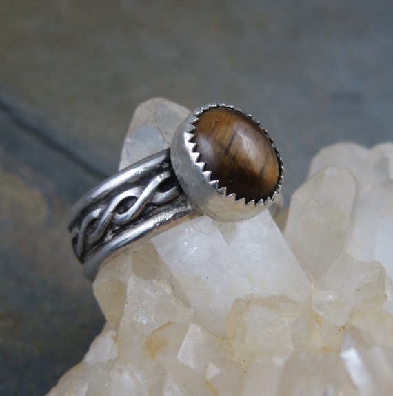 Tigers Eye Celtic Sterling Ring - Size 10 - Unisex Mens Ring