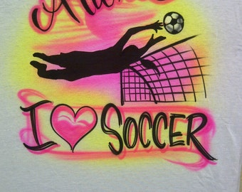 Airbrush I Love Soccer Player Personalized with Name S M L XL 2X T Shirt Airbrushed T-Shirt