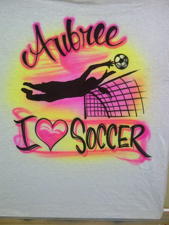 Airbrush I Love Soccer Player w/ Name size XS S M L Adult S M L XL 2X T Shirt Airbrushed T-Shirt