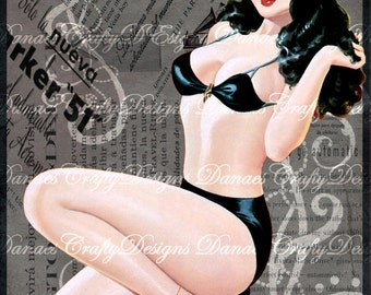 Black Haired Beauty- Vintage Pin Up Girl on Charcoal Swirl Collaged Background - PU213 - Digital Download- Bonus Sheet My Treat
