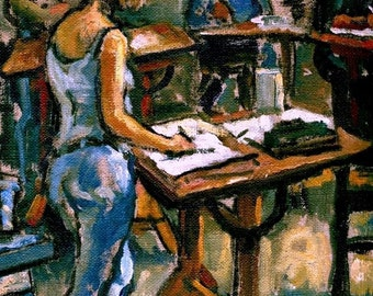 Night Studio, Artists Working. Original Painting, 8x12 Oil on Canvas, Realist Figure Study, Art Studio Interior, Signed Original Fine Art