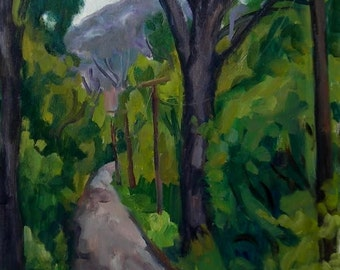 Summer Road Berkshires, Overcast. Original 12x16 Oil Painting Landscape, American Impressionist Plein Air Fine Art, Signed Original Oil