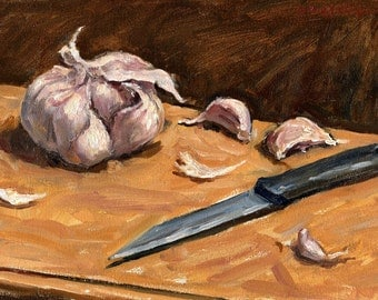 Garlic and Knife. Still Life Oil Painting, Small Realist Oil on Panel, 8x12 Strip Framed and Signed Original Fine Art