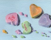 Original ACEO Painting - Small Acrylic Still Life Painting with Candy Hearts - ATC Food Art