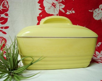Hall Yellow Baking Dish Westinghouse, with Lid 1950s Art Deco 5064 Ridged