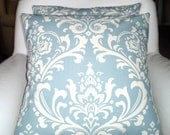Blue Damask Pillow Covers, Decorative Throw Pillows, Cushions, Village Blue Natural Cream Damask Euro Sham Couch Bed  One or More ALL SIZES