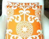 Orange Cream Decorative Throw Pillows Cushion Covers Orange Cream Fun Floret Waverly Couch Bed Sofa Various Sizes