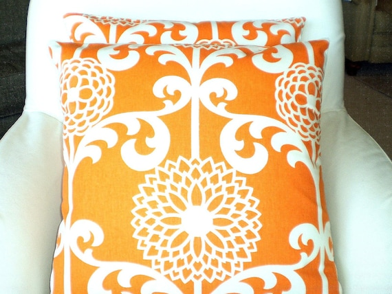Decorative Throw Pillows Cushion Covers Orange Cream Fun Floret Waverly BOTH SIDES - Pair of Two 18 x 18