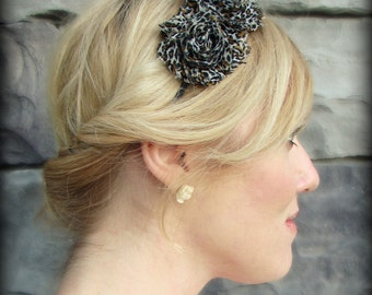 Adult Headband in Leopard Print, Shabby Chic Flower for Girls and Women