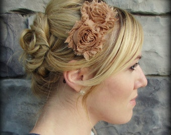 Adult Headband in Butterscotch, Shabby Chic Flower for Girls and Women