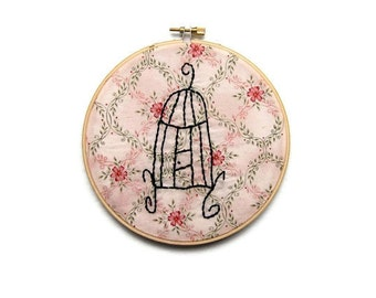 Sale - Aunt Bea's Bird Cage - Embroidery Hoop Wall Art - Fun Teacher Gift