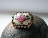 Vintage Guilloche Enamel Prong Set Rhinestone Rose Brooch Pin