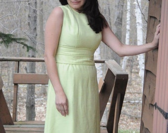 SALE DRESS 1960's CHARTREUSE Jacket and Dress Set by Daymor Couture Two Piece Green Dress and Coat