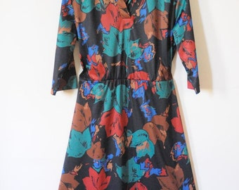 SALE FLORAL Dress / Maxi / Vintage Day Dress Size Large
