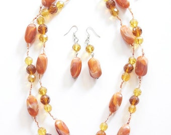 SALE NECKLACE & Earrings Set Carnelian and Glass Necklace / Statement Necklace