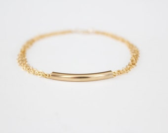Curved Bar Bracelet - 14k Gold Filled Bar - Multi Chain Bracelet