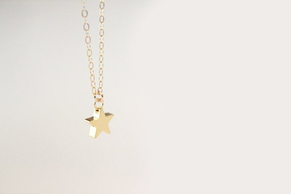 Star Necklace - Gold or Silver Puffy Star - Shooting Star - SALE
