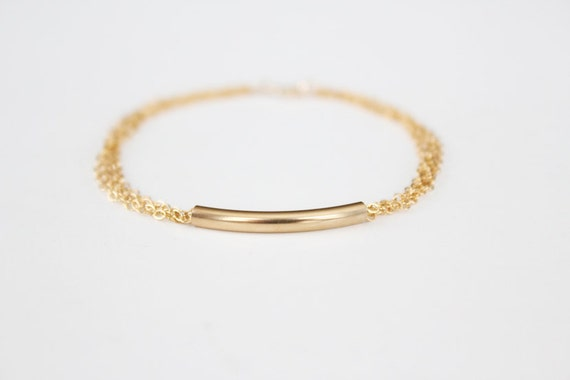 Curved Bar Bracelet - 14k Gold Filled Bar - Multi Chain Bracelet
