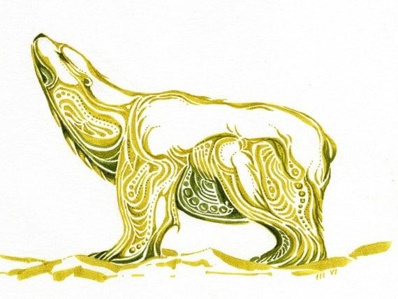 Polar bear tells a story....Alaskan Native Drawing....3 size options