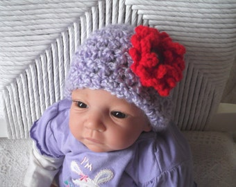 Marked Down...Soft...Lavender Cap with Dainty Red Flower Accent....One Size  Newborn up to 8 weeks...  READY - to - SHIP...PHOTOS