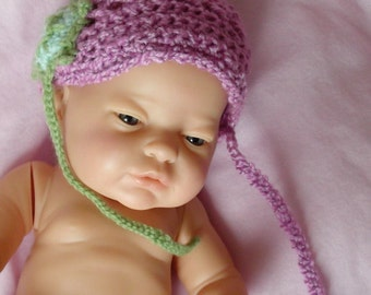 Adorable....OOAK...Violet... Turtle Cap.... Designed to fit a Larger Preemie up to a Newborn .....Cute Green Turtle...All Handcrocheted