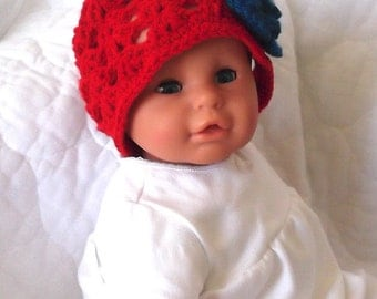 USA.... Patriotic...4th of July..... Red, White & Blue Beanie for 9 up to 12 Month Girl...Rosytouch Design.... READY to SHIP