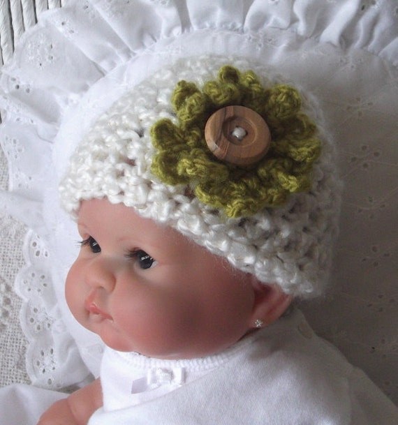Newborn GIRL... Cream Cap with Dainty Green Flower....Wooden Button.....Ready - to - Ship PHOTO PROP