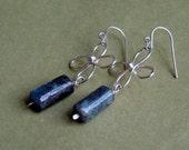 silver and kyanite earrings - kyanite flower long earrings