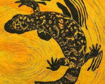 Gila Monster  - Original Linocut Print