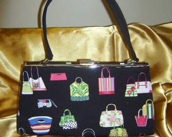 Vintage Black Colorful Purses Handled Purse Handbag Clutch
