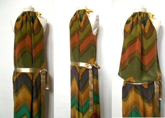 Maxi Dress Silk Handpainted African Inspiration Summer Sleevless Halter  by TanjaDesign Reserved for Nina Project