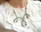 Statement Necklace: Teal Pearl Necklace - Teal, Chocolate, and White Pearls with Loops