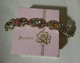 Vintage Bracelet Coro 40s 50s Rhinestone Bracelet in Original box Dead Stock Mint - on sale