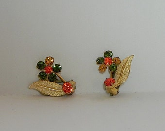 Vintage 1950s Earrings - 50s Signed Flower Rhinestone Earrings in Fall colours - on sale