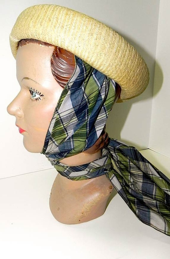 Vintage 40s Straw Convertible Hat Topper with Plaid Scarf -on sale-