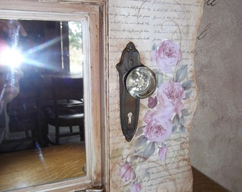 Entry mirror, coat hooks, vintage, rack, hanger, Shabby Chic, shutter, door
