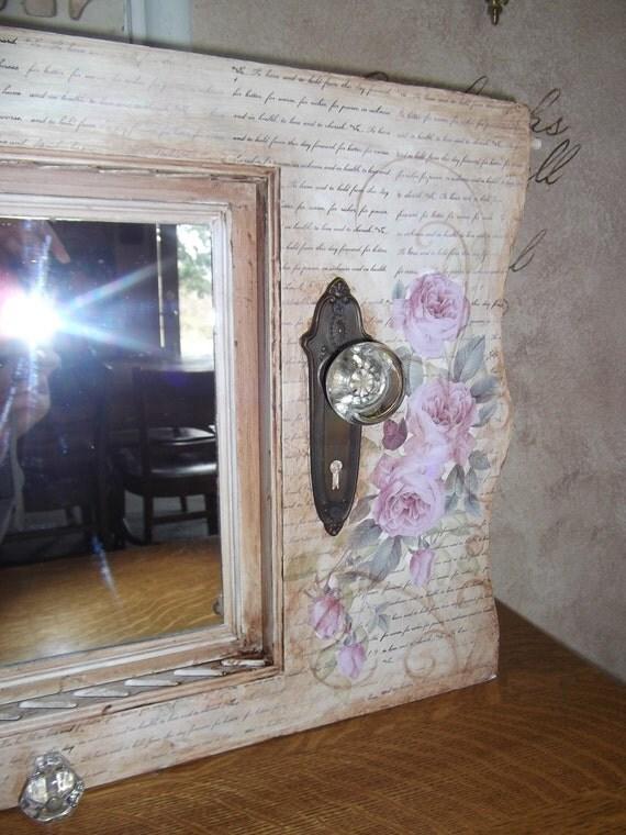 Entry mirror, coat hooks, vintage, rack, hanger, Shabby Chic, shutter, door