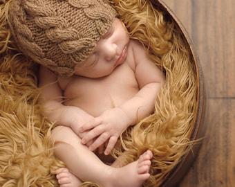 Newborn photo prop, newborn hat, newborn boy, newborn girl, knit newborn hat, newborn props, Cappuccino or any color newborn cable beanie