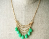 Green Statement Necklace, Gemstone Jewelry